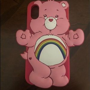 Carebear rainbow pink IPhone X silicone case.
